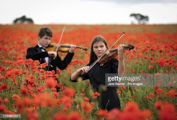 Viktor Seifert and his sister Klara Seifert play the Wilfred Owen and Siegfried Sassoon violins surrounded by poppies in a field near Edinburgh to...