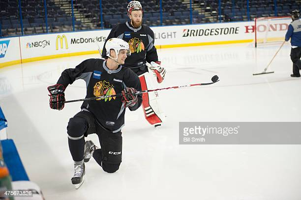 Viktor Svedberg of the Chicago Blackhawks handles the puck during a practice for the 2015 NHL Stanley Cup Final at Amalie Arena on June 2 2015 in...