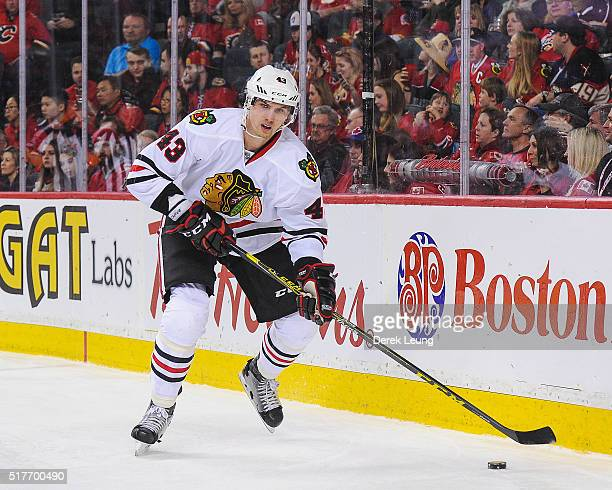 Viktor Svedberg of the Chicago Blackhawks in action against the Calgary Flames during an NHL game at Scotiabank Saddledome on March 26 2016 in...