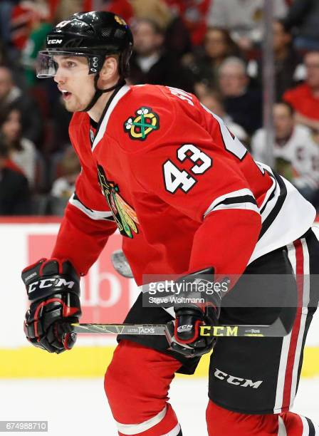 Viktor Svedberg of the Chicago Blackhawks plays in the game against the St Louis Blues at the United Center on April 7 2016 in Chicago Illinois