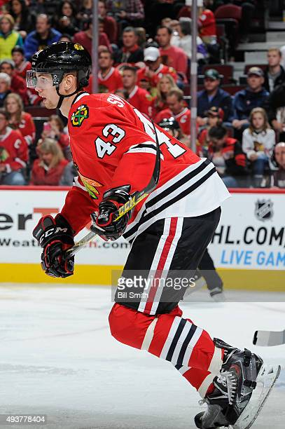 Viktor Svedberg of the Chicago Blackhawks skates during the second period of the NHL game against the New York Islanders at the United Center on...