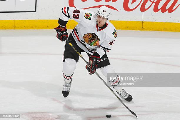 Viktor Svedberg of the Chicago Blackhawks skates with the puck against the Minnesota Wild during the game on October 30 2015 at the Xcel Energy...