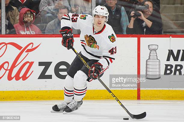 Viktor Svedberg of the Chicago Blackhawks skates with the puck against the Minnesota Wild during the game on March 29 2016 at the Xcel Energy Center...