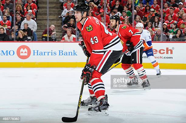 Viktor Svedberg of the Chicago Blackhawks watches for the puck during the second period of the NHL game against the New York Islanders at the United...