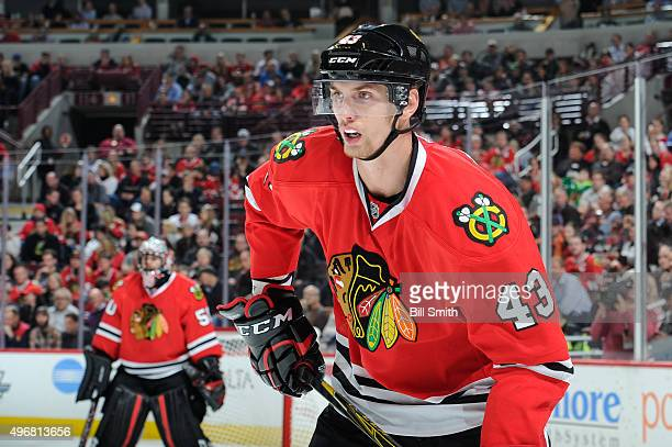 Viktor Svedberg of the Chicago Blackhawks watches for the puck in the second period of the NHL game against the Los Angeles Kings at the United...