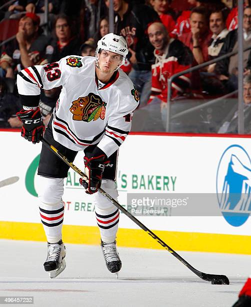 Viktor Svedberg of the Chicago Blackhawkslooks to pass in an NHL hockey game against the New Jersey Devils at Prudential Center on November 6 2015 in...