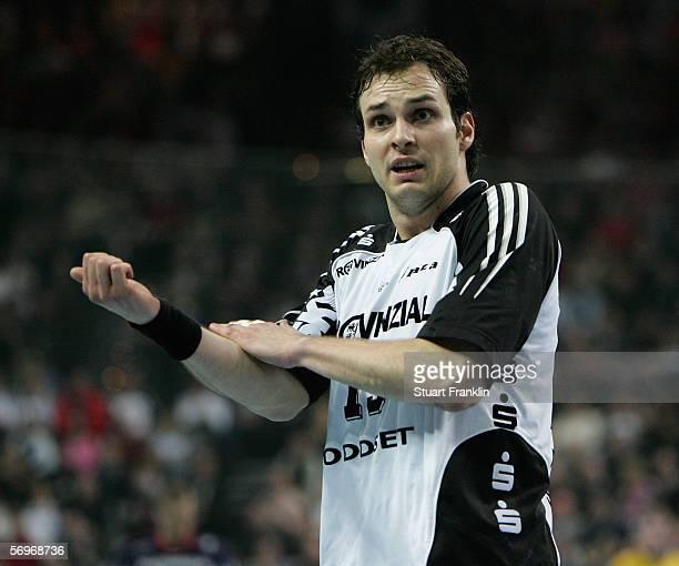 Viktor Szilagyi of Keil reacts during the Handball European Champions League quarter final first leg match between THW Kiel and SG Flensburg...