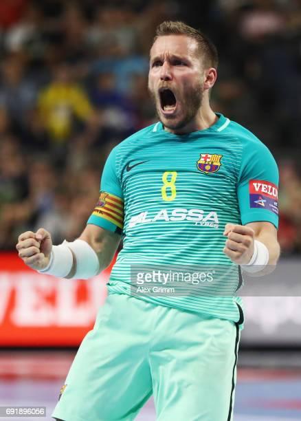 Viktor Tomas Gonzalez of Barcelona celebrates a goal during the VELUX EHF FINAL4 Semi Final between HC Vardar and FC Barcelona Lassa at Lanxess Arena...