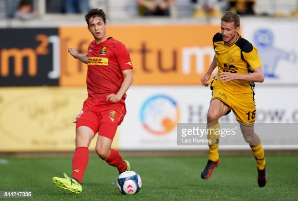 Viktor Tranberg of FC Nordsjalland in action during the Danish Alka Superliga match between AC Horsens and FC Nordsjalland at CASA Arena Horsens on...