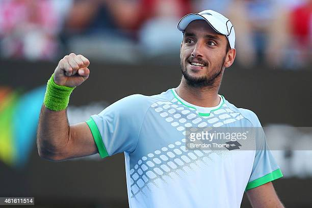 Viktor Troicki of Serbia celebrates victory in his semi final match against Gilles Muller of Luxembourg during day six of the 2015 Sydney...