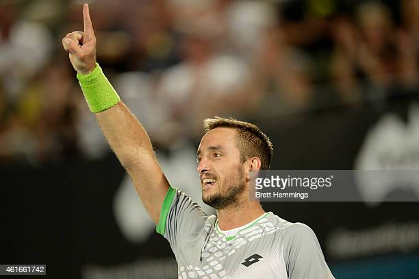 Viktor Troicki of Serbia celebrates victory in the Men's Singles Final match against Mikhail Kukushkin of Kazakhstan during day seven of the 2015...