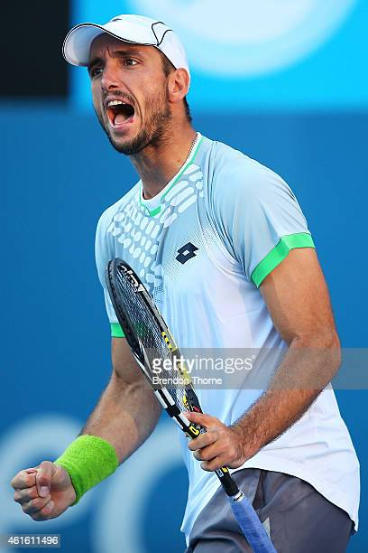 Viktor Troicki of Serbia celebrates winning a game in his semi final match against Gilles Muller of Luxembourg during day six of the 2015 Sydney...