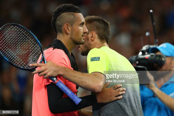 Viktor Troicki of Serbia congratulates Nick Kyrgios of Australia after their second round match against Viktor Troicki of Serbia on day three of the...
