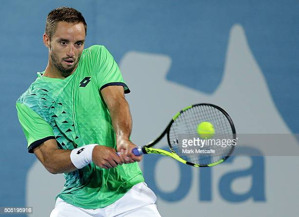 Viktor Troicki of Serbia plays a backhand in his men's final match against Grigor Dimitrov of Bulgaria during day seven of the 2016 Sydney...