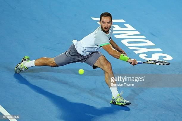 Viktor Troicki of Serbia plays a backhand in the Men's Singles Final match against Mikhail Kukushkin of Kazakhstan during day seven of the 2015...