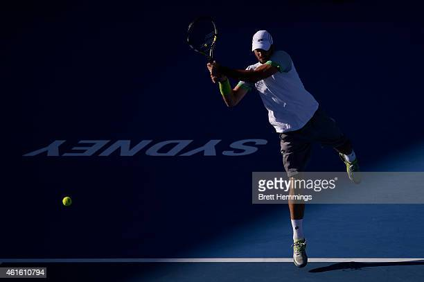 Viktor Troicki of Serbia plays a backhand shot in his semi final match against Gilles Muller of Luxembourg during day six of the 2015 Sydney...