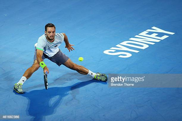 Viktor Troicki of Serbia plays a forehand in the Men's Singles Final match against Mikhail Kukushkin of Kazakhstan during day seven of the 2015...