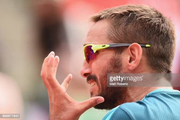 Viktor Troicki of Serbia reacts in his match against Milos Raonic of Canada during day two of the Rakuten Open at Ariake Coliseum on October 3 2017...