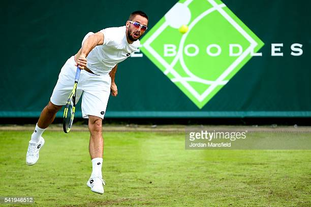 Viktor Troicki of Serbia serves during his match against Jeremy Chardy of France during day one of The Boodles Tennis Event at Stoke Park on June 21,...