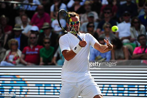 Viktor Troicki plays a volley during a match against Marin Cilic in the semifinals of the Mercedes Cup in Stuttgart on June 13 2015