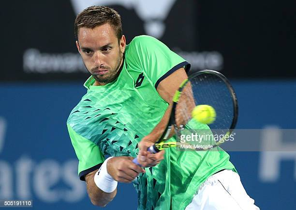 Viktor Troiki of Serbia plays a backhand in his men's final match against Grigor Dimitrov of Bulgaria during day seven of the 2016 Sydney...