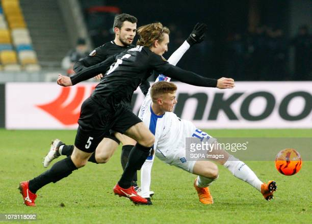 Viktor Tsygankov of Dynamo, Matej Hanousek and Vladimir Jovovic of Jablonec are seen in action during the UEFA Europa League Group K soccer match...