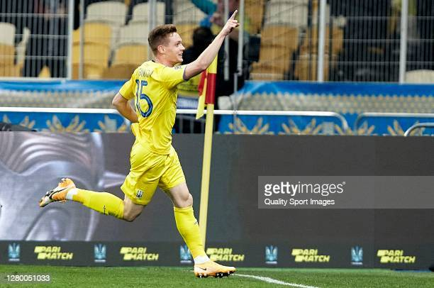 Viktor Tsygankov of Ukraine celebrates after scoring his team's first goal during the UEFA Nations League group stage match between Ukraine and Spain...