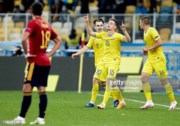 Viktor Tsygankov of Ukraine celebrates after scoring his team's first goal with his teammates during the UEFA Nations League group stage match...