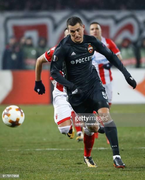 Viktor Vasin of CSKA Moscow in action during UEFA Europa League Round of 32 match between Crvena Zvezda Belgrade and CSKA Moscow at the Rajko Mitic...