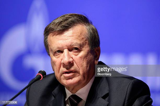 Viktor Zubkov chairman of the OAO Gazprom board and Russia's first deputy prime minister speaks during the press conference after company's annual...