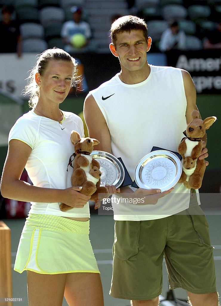 Viktoria Azarenka and Max Mirnyi hold their Mixed Doubles Runners-Up trophies after losing to Daniel Nestor and Elena Likhovtseva at the 2007 Australian Open at Rod Laver Arena, Melbourne, Australia, January 28, 2007.