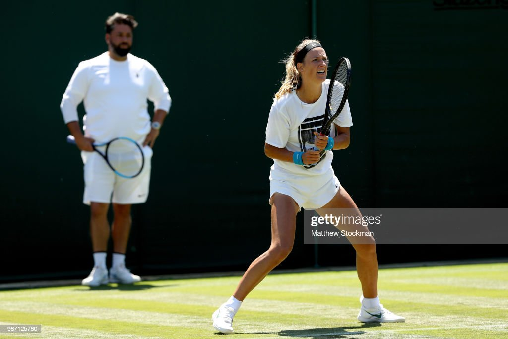 Viktoria Azarenka of Belarus practices on court during training for the Wimbledon Lawn Tennis Championships at the All England Lawn Tennis and Croquet Club at Wimbledon on June 29, 2018 in London, England.