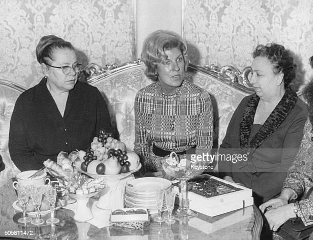 Viktoria Brezhnev wife of Soviet President Leonid Brezhnev Claude Pompidou wife of French President Georges Pompidou and Natalya Podgorny wife of...