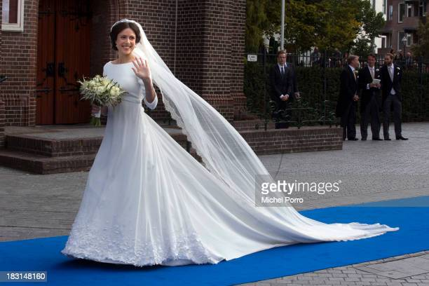 Viktoria Cservenyak arrives at the church for her wedding with Prince Jaime de Bourbon Parme at The Church Of Our Lady At Ascension on October 5,...