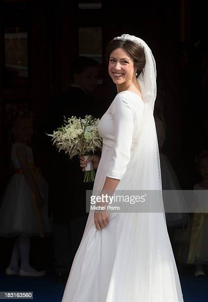 Viktoria Cservenyak arrives for her wedding with Prince Jaime de Bourbon Parme at The Church Of Our Lady At Ascension on October 5, 2013 in...
