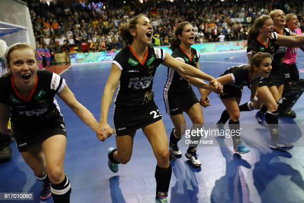 Viktoria Huse and Marie Maevers of Germany celebrate after the Women Gold Medal Indoor Hockey World Cup Berlin Final Day match between Germany and...