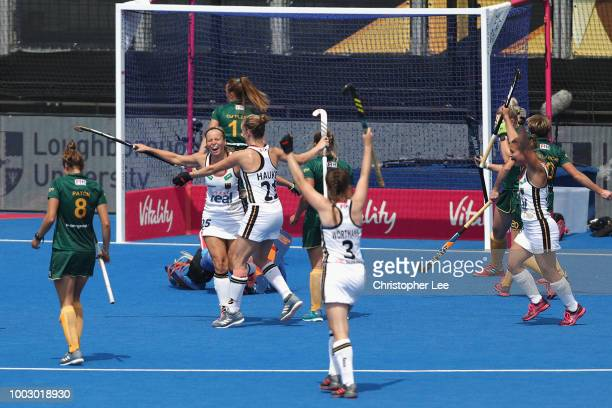 Viktoria Huse of Germany celebrates scoring their first goal during the Pool C game between Germany and South Africa of the FIH Womens Hockey World...