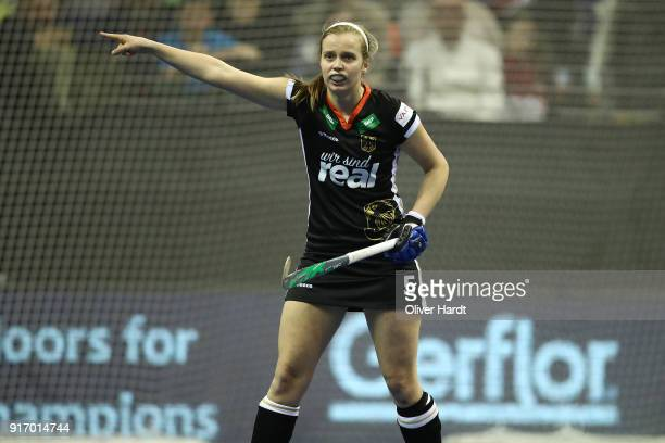 Viktoria Huse of Germany in action during the Women Gold Medal Indoor Hockey World Cup Berlin Final Day match between Germany and Netherlands on...
