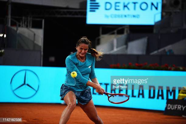 Viktoria Kuzmova in her match against Simona Halep during day four of the Mutua Madrid Open at La Caja Magica in Madrid on 8th May 2019
