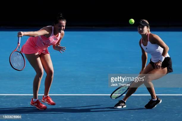 Viktoria Kuzmova of Slovakia and Anna Kalinskaya of Russia play in their Women's Doubles final against Shuko Aoyama and Ena Shibahara of Japan during...