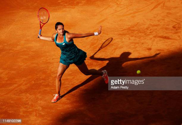 Viktoria Kuzmova of Slovakia hits a forehand to Ashleigh Barty of Australia during their match during day three of the International BNL d'Italia at...