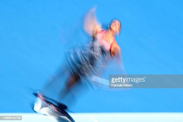 Viktoria Kuzmova of Slovakia serves during her quarter final match against Amanda Anisimova of USA at the ASB Classic on January 04 2019 in Auckland...