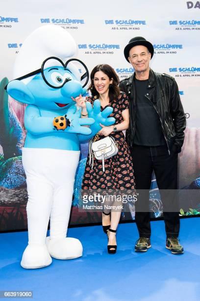 Viktoria Lauterbach and her husband Heiner Lauterbach attend the 'Die Schluempfe Das verlorene Dorf' Berlin Premiere at Sony Centre on April 2 2017...