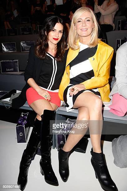 Viktoria Lauterbach and Judith Milberg attend the Laurel show during the MercedesBenz Fashion Week Berlin Autumn/Winter 2016 at Brandenburg Gate on...