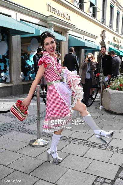 Viktoria Lauterbach wearing a Dirndl by Lola Paltinger during the 'Fruehstueck bei Tiffany' at Tiffany Store ahead of the Oktoberfest on September 22...
