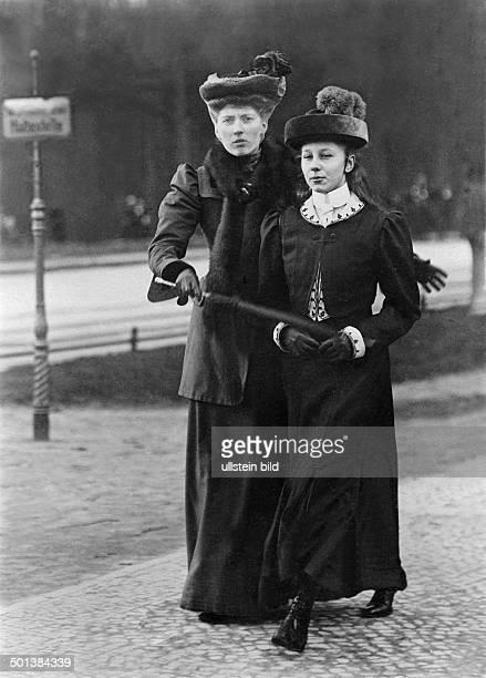 Viktoria Luise of Prussia Only daughter of German Emperor Wilhelm II Princess Viktoria Luise on a walk with her governess Elisabeth von Saldern who...