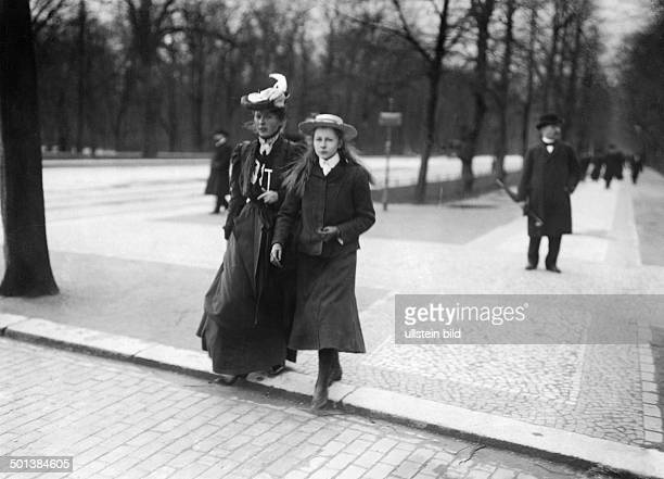 Viktoria Luise of Prussia Only daughter of German Emperor Wilhelm II The 13 years old Princess on a walk in the Tiergarten Park in Berlin accompanied...
