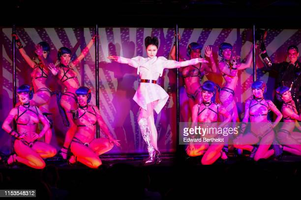 Viktoria Modesta and dancers of Crazy Horse perform during the Bionic ShowGirl Press Preview at Le Crazy Horse on June 02 2019 in Paris France