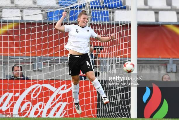Viktoria Pinther of Austria celebrates a penalty goal during the UEFA Womens Euro 2017 quarterfinal football match between Austria and Spain at the...