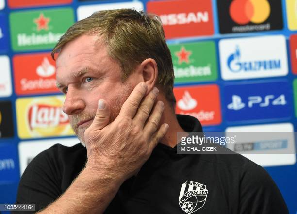Viktoria Plzen's Czech coach Pavel Vrba is seen prior to the UEFA Champions League group G football match Viktoria Plzen v CSKA Moscow in Plzen on...